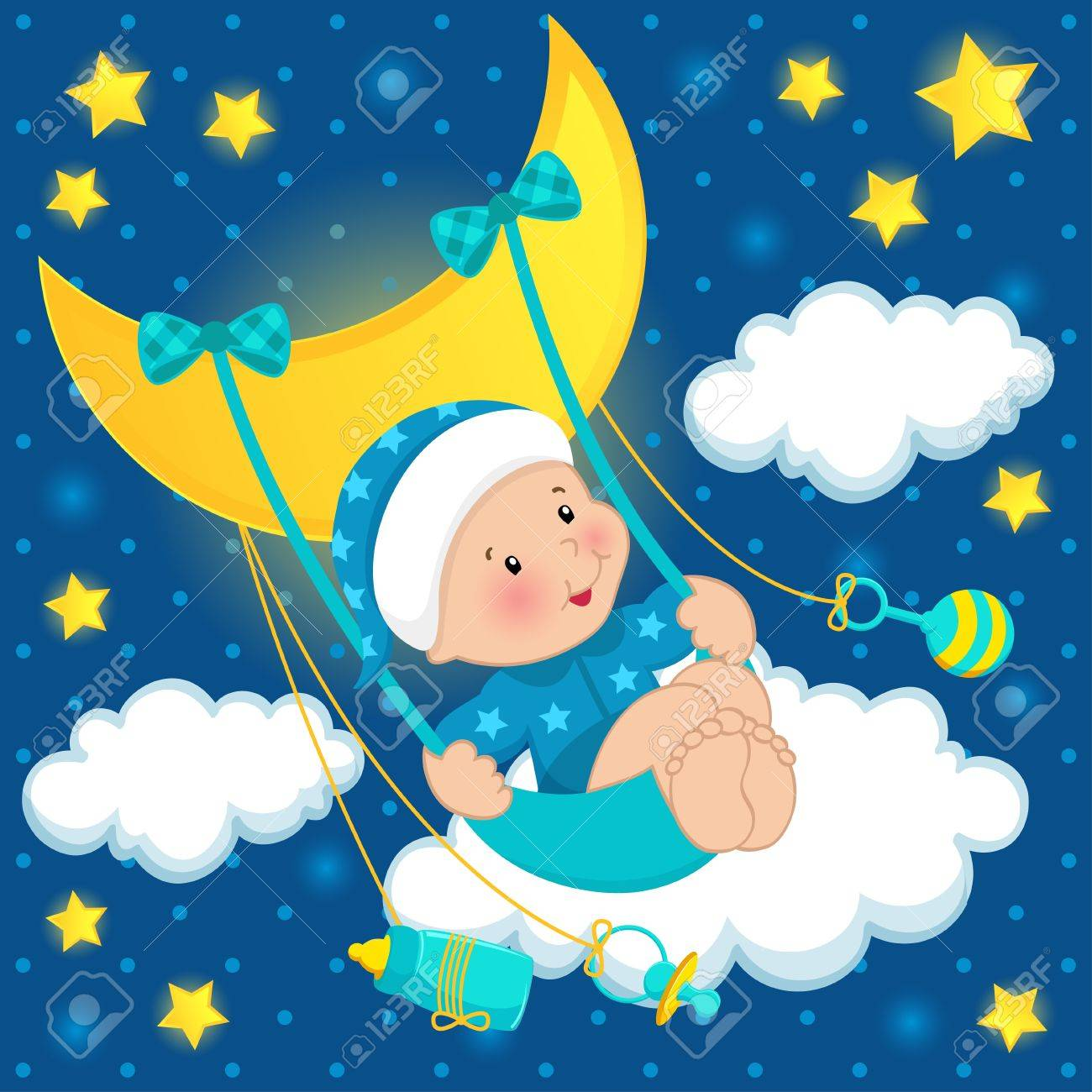 baby on the moon vector Standard-Bild - 17471179
