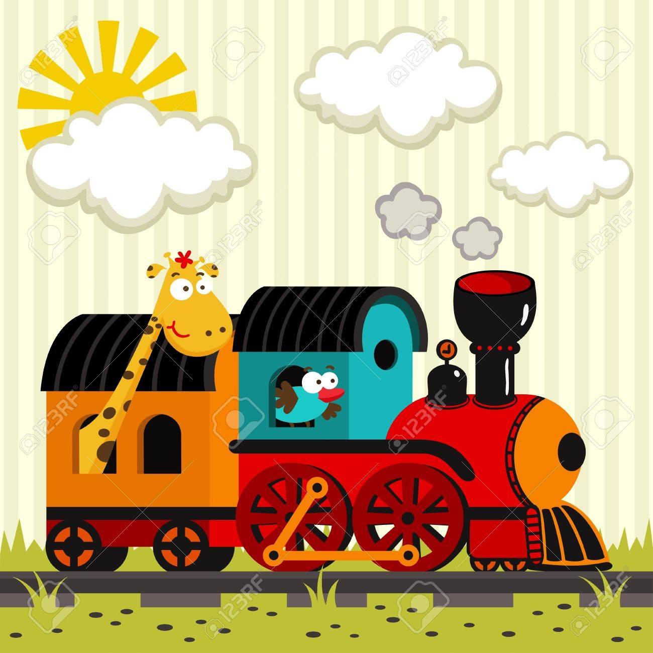 Lokomotive mit einer Giraffe und einem Vogel Standard-Bild - 17569538