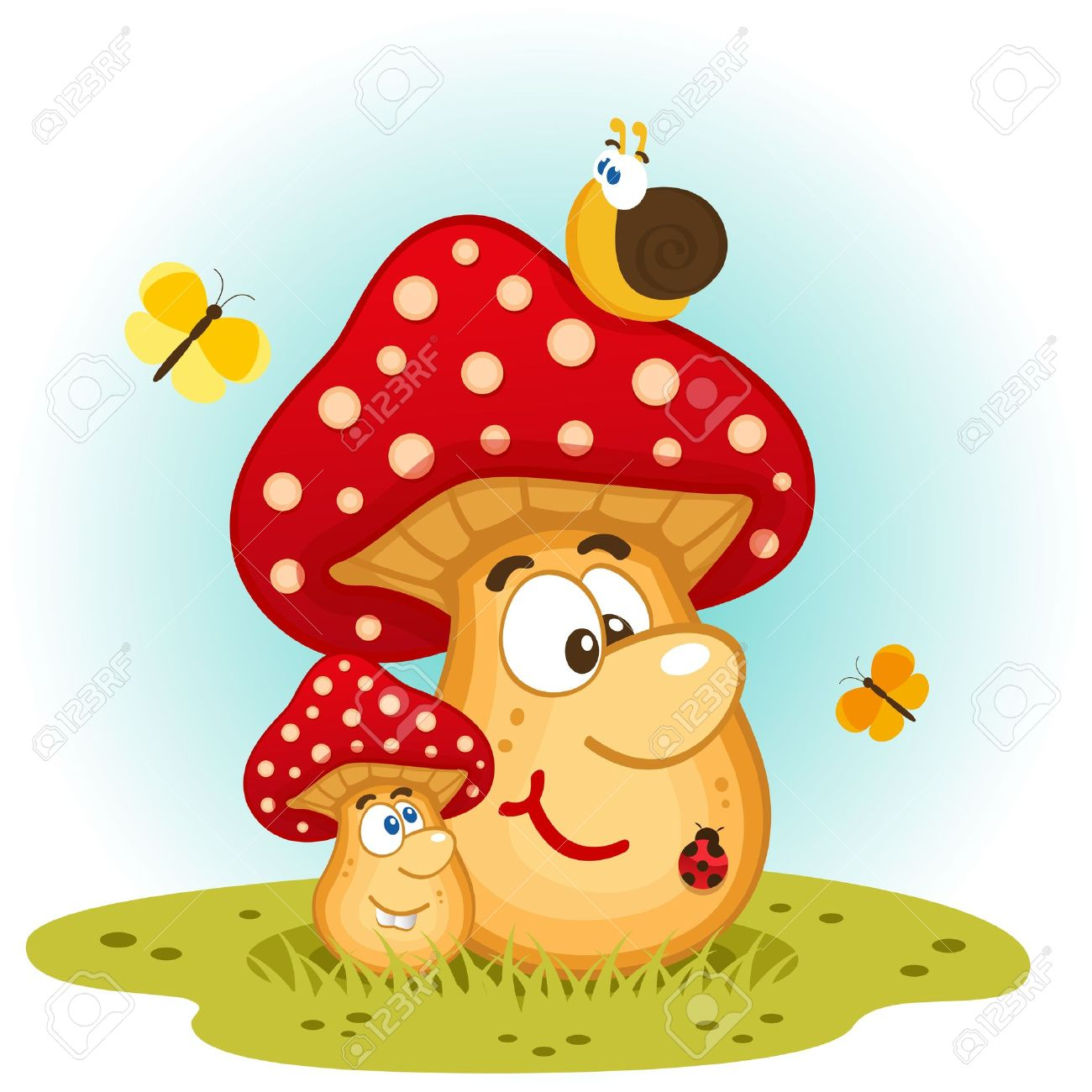 Mushrooms and insects vector Standard-Bild - 17569541