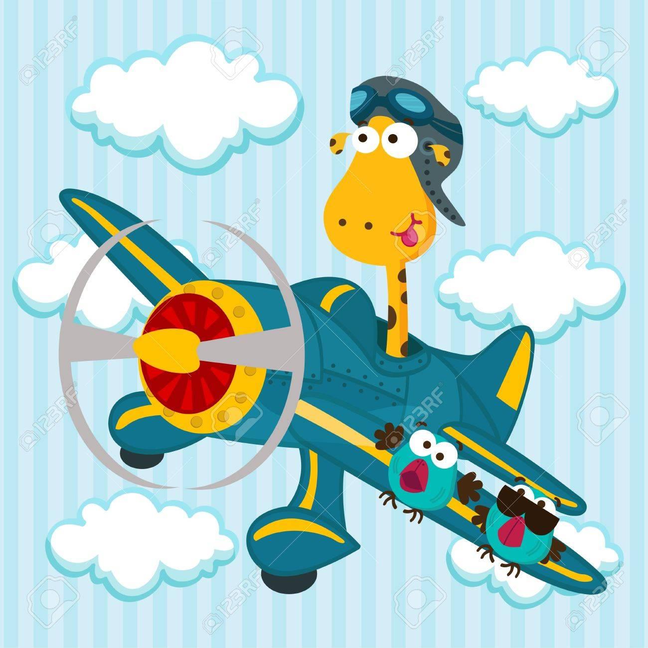 giraffe on a airplane Stock Vector - 17836815