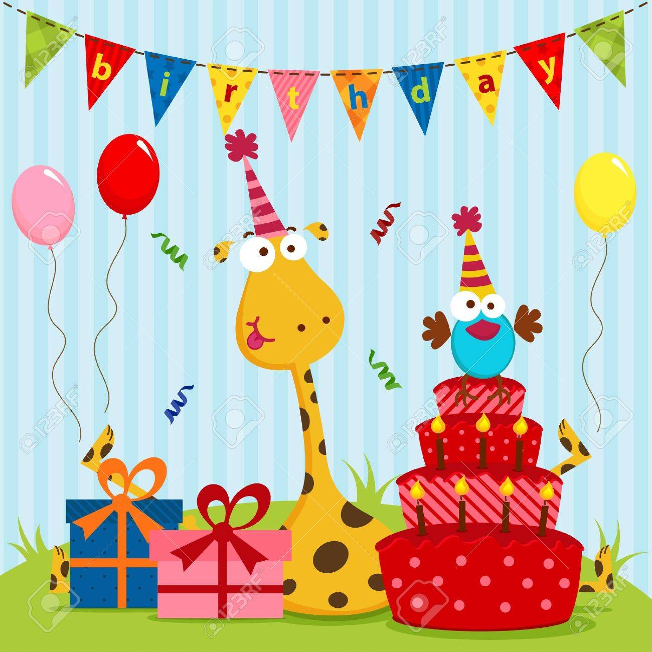 giraffe and bird birthday Standard-Bild - 18955983