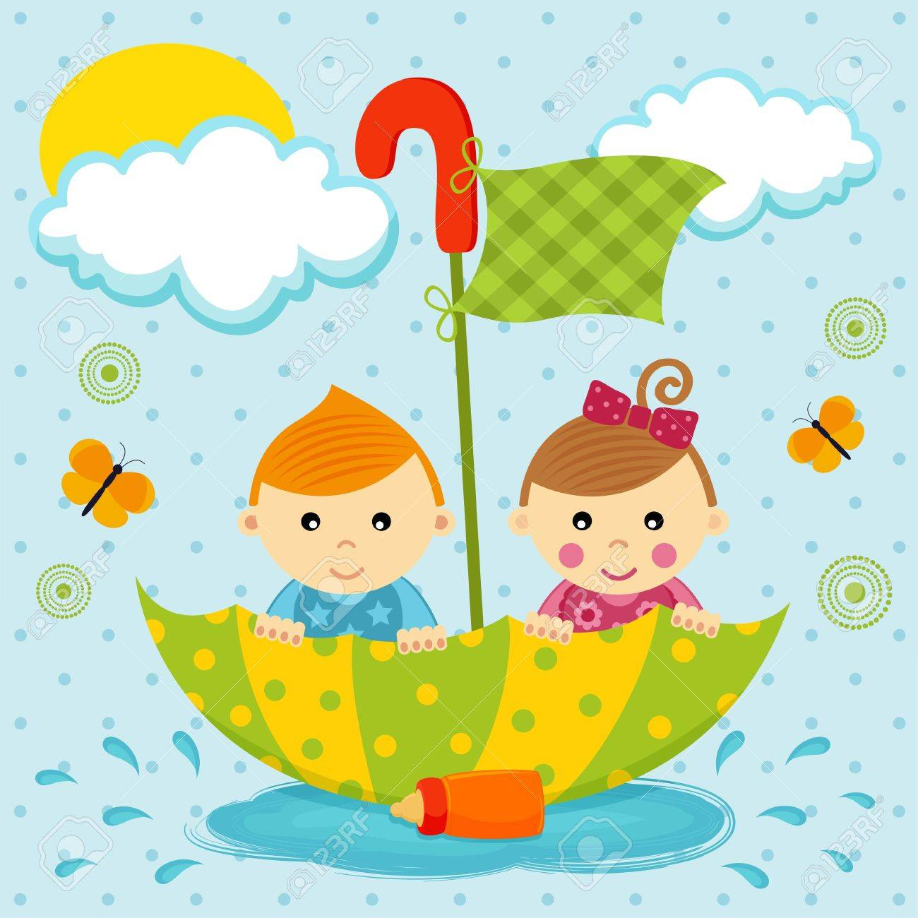 little boy and girl floating in a puddle by the umbrella Standard-Bild - 19424338