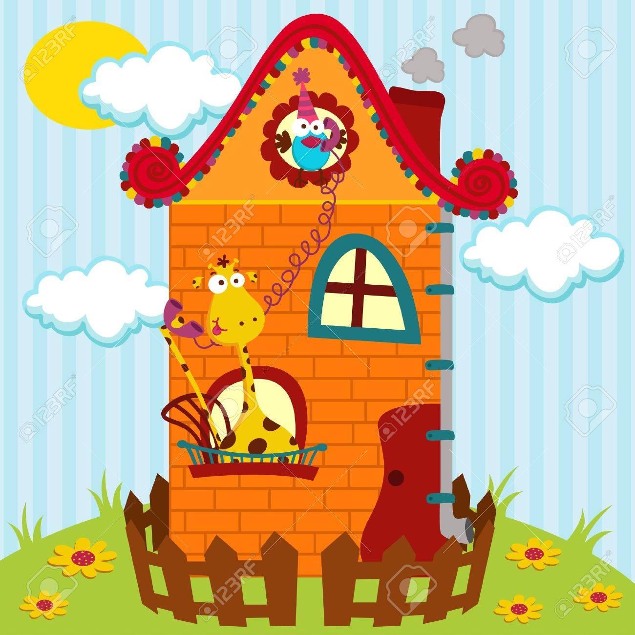 Illustration, Giraffen und Vogel im Gespräch über das Telefon im Haus Standard-Bild - 19424350