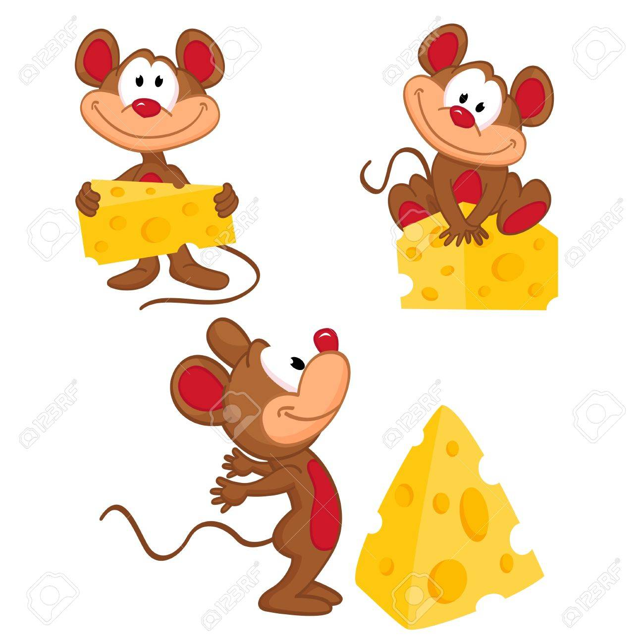 Maus und Käse in einer Vielzahl von Aktionen - Vektor-Illustration Standard-Bild - 20069490