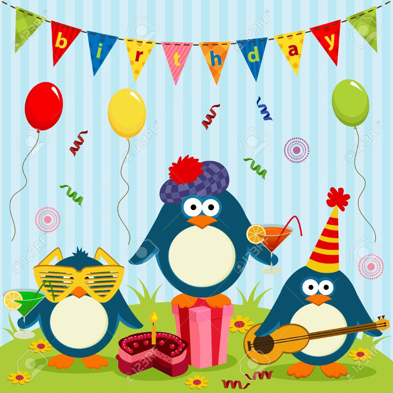three cute penguins celebrate birthday - vector illustration Stock Vector - 20300549