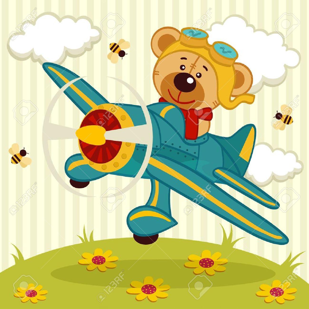 teddy bear fly on a airplane - vector illustration Standard-Bild - 20300594