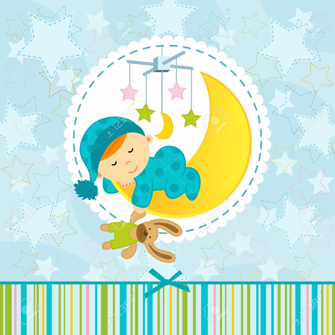 baby boy sleeping - vector illustration Standard-Bild - 21689214