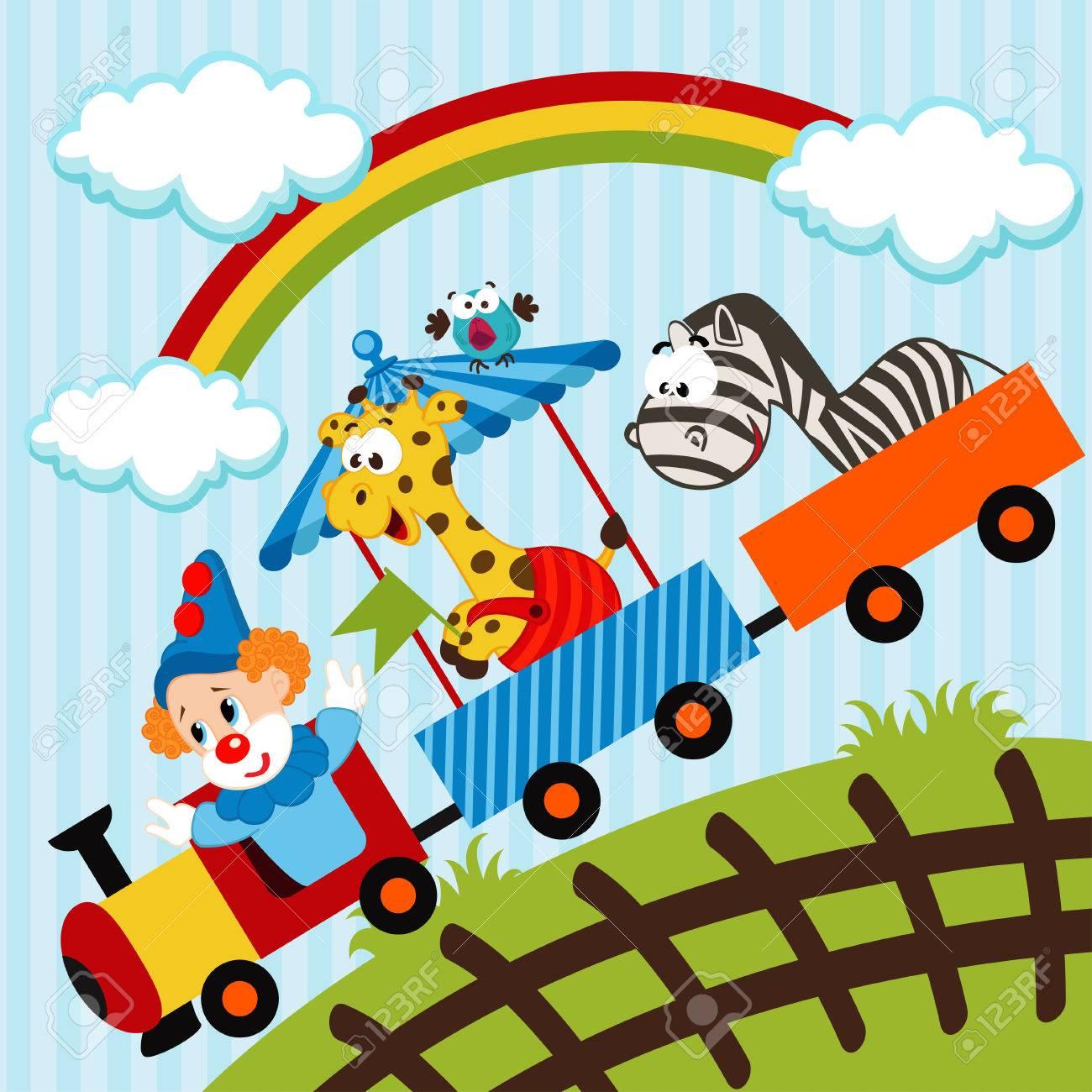 Clown und Tiere fahrenden Zug - Vektor-Illustration Standard-Bild - 23161065