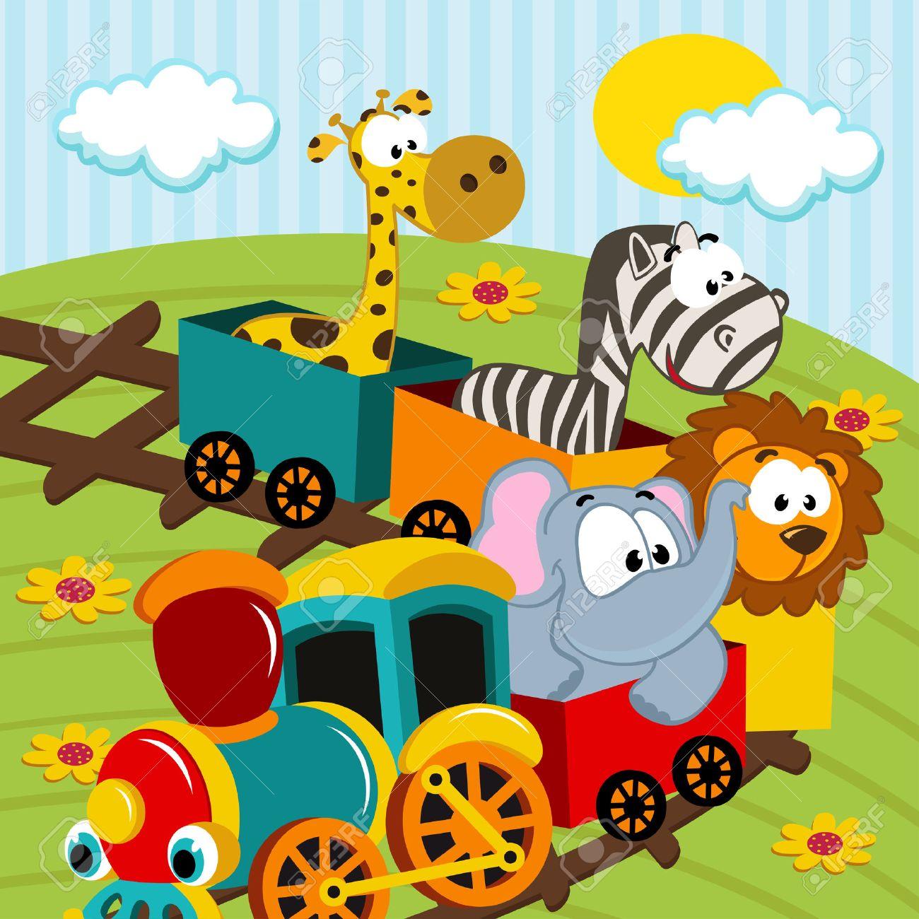 animals by train - vector illustration Standard-Bild - 24149663