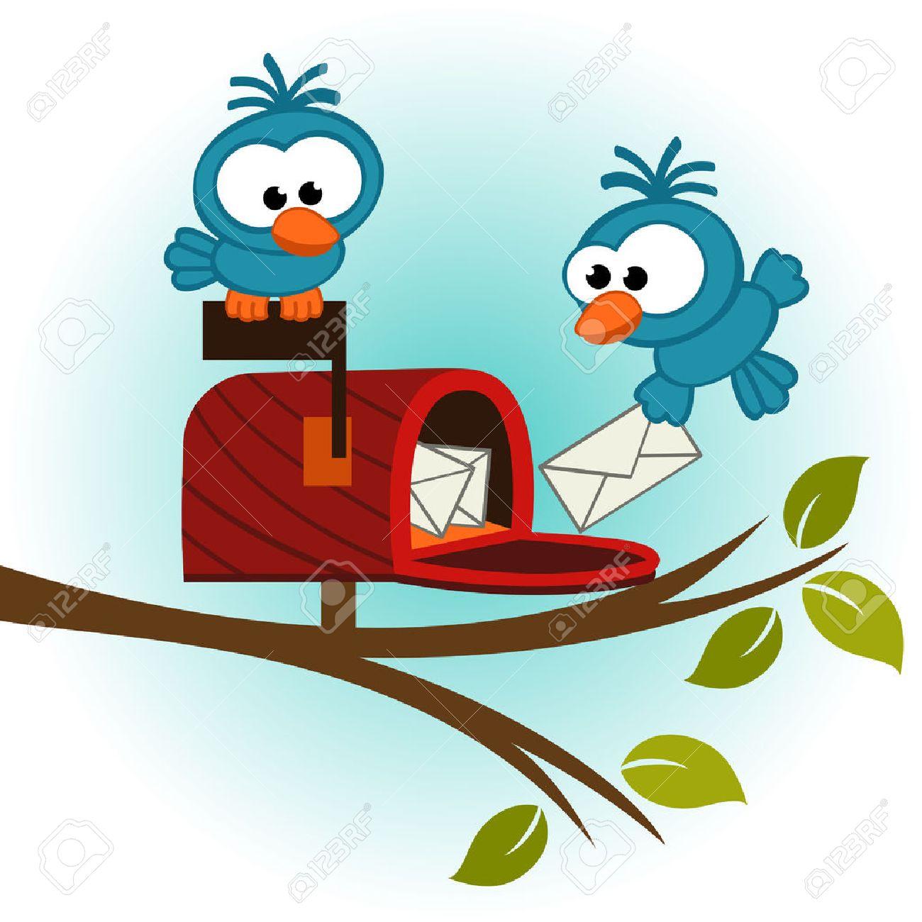 Vögel und Postfach mit Mail - Vektor-Illustration Standard-Bild - 24441086