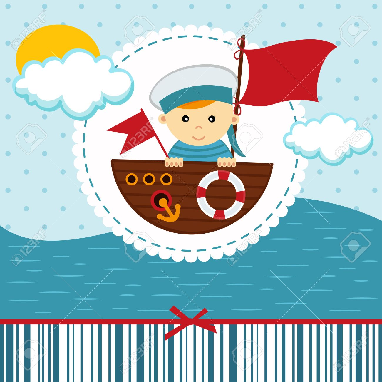 Sailor stock photos illustrations and vector art - Sailor Kid Baby Boy Sailor Vector Illustration