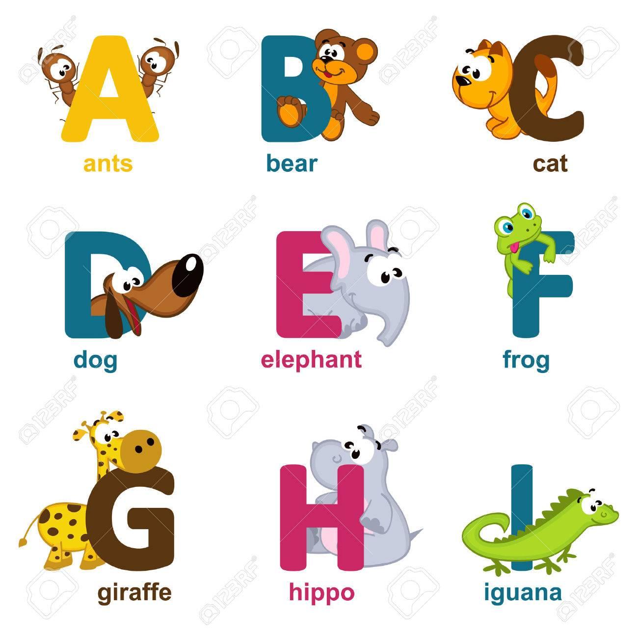 alphabet animals from A to I - vector illustration Standard-Bild - 24596302