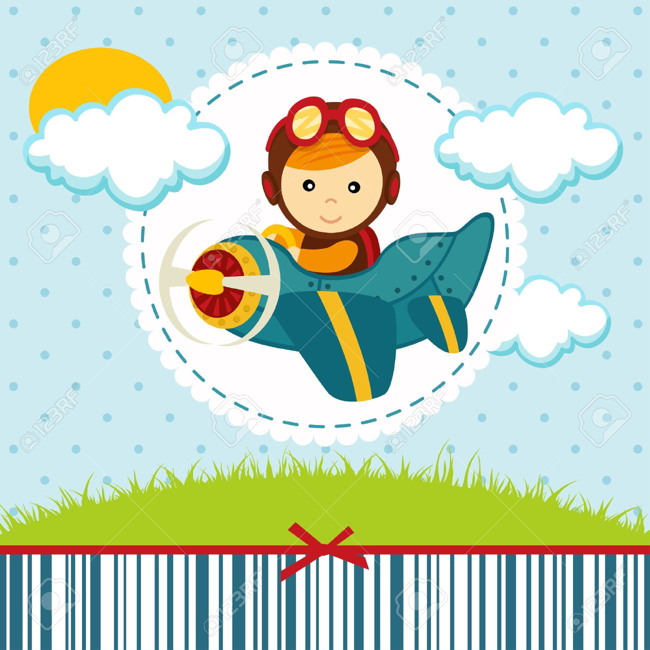 baby boy pilot  illustration Standard-Bild - 25316165
