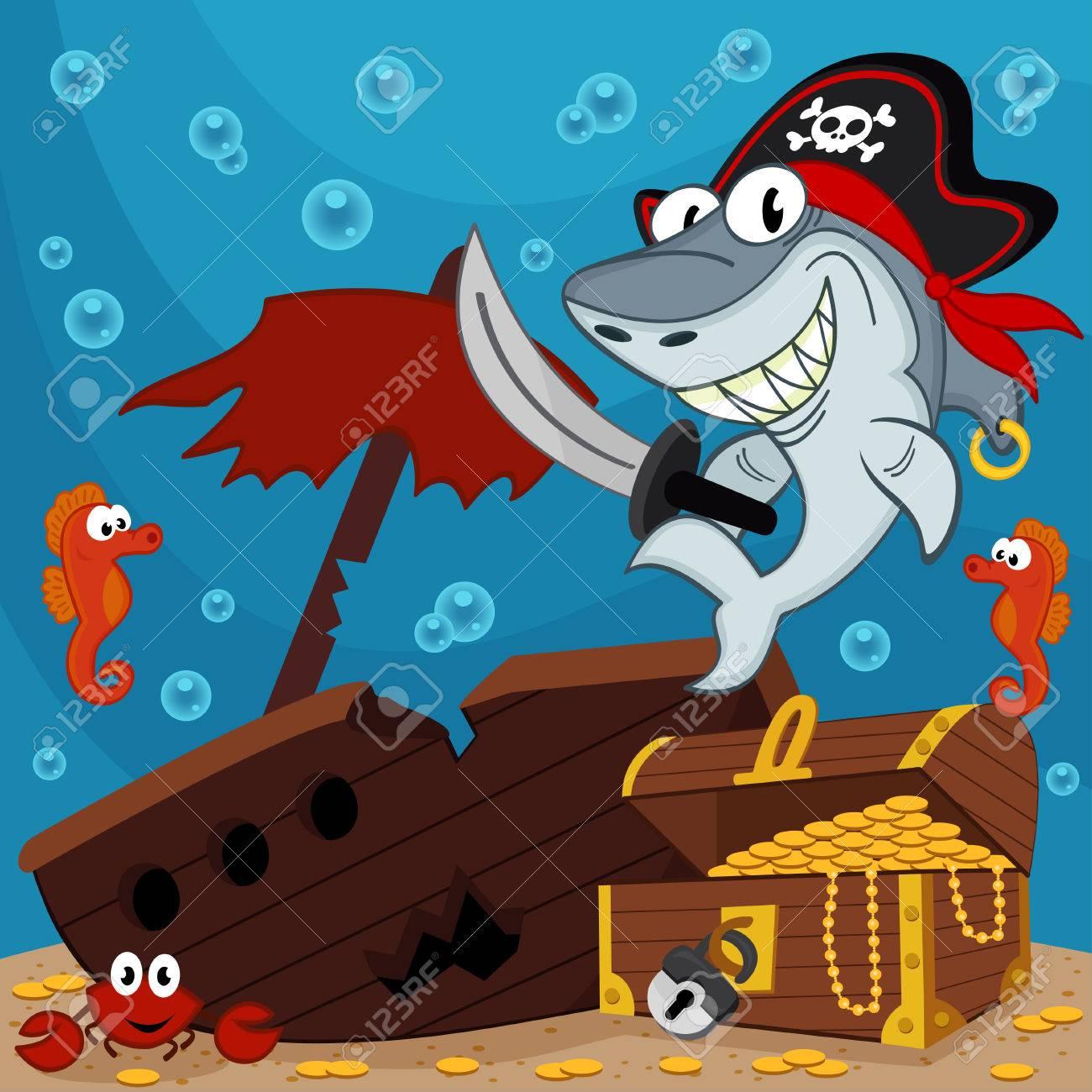 pirate shark illustration Standard-Bild - 26031391
