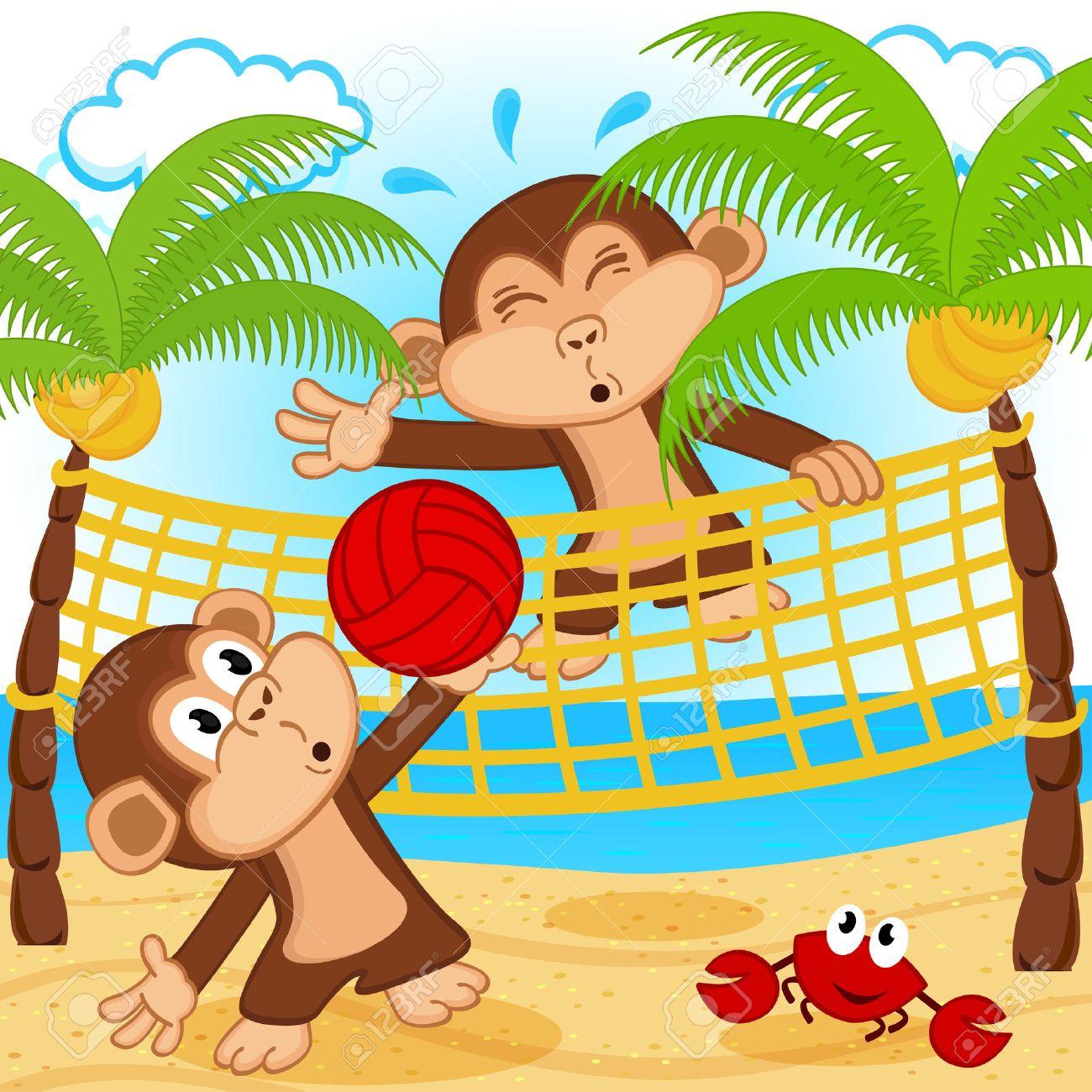 monkeys playing in beach volleyball - vector illustration Standard-Bild - 27144237