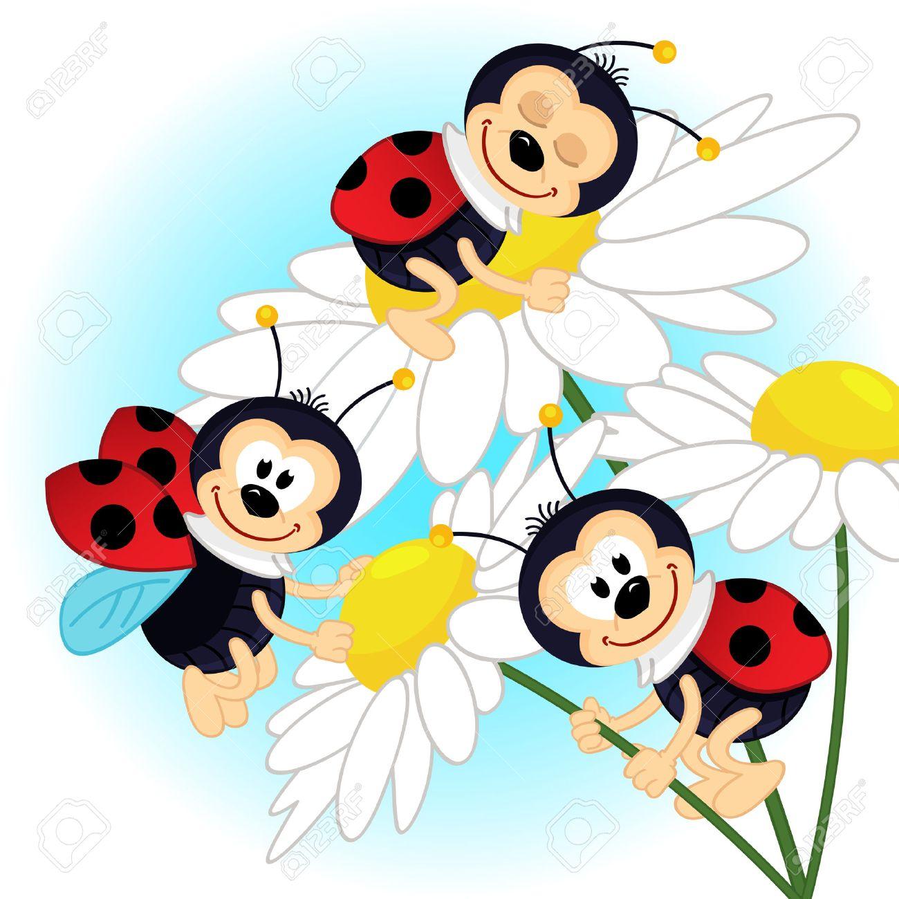 ladybug on camomile - vector illustration Standard-Bild - 27144243
