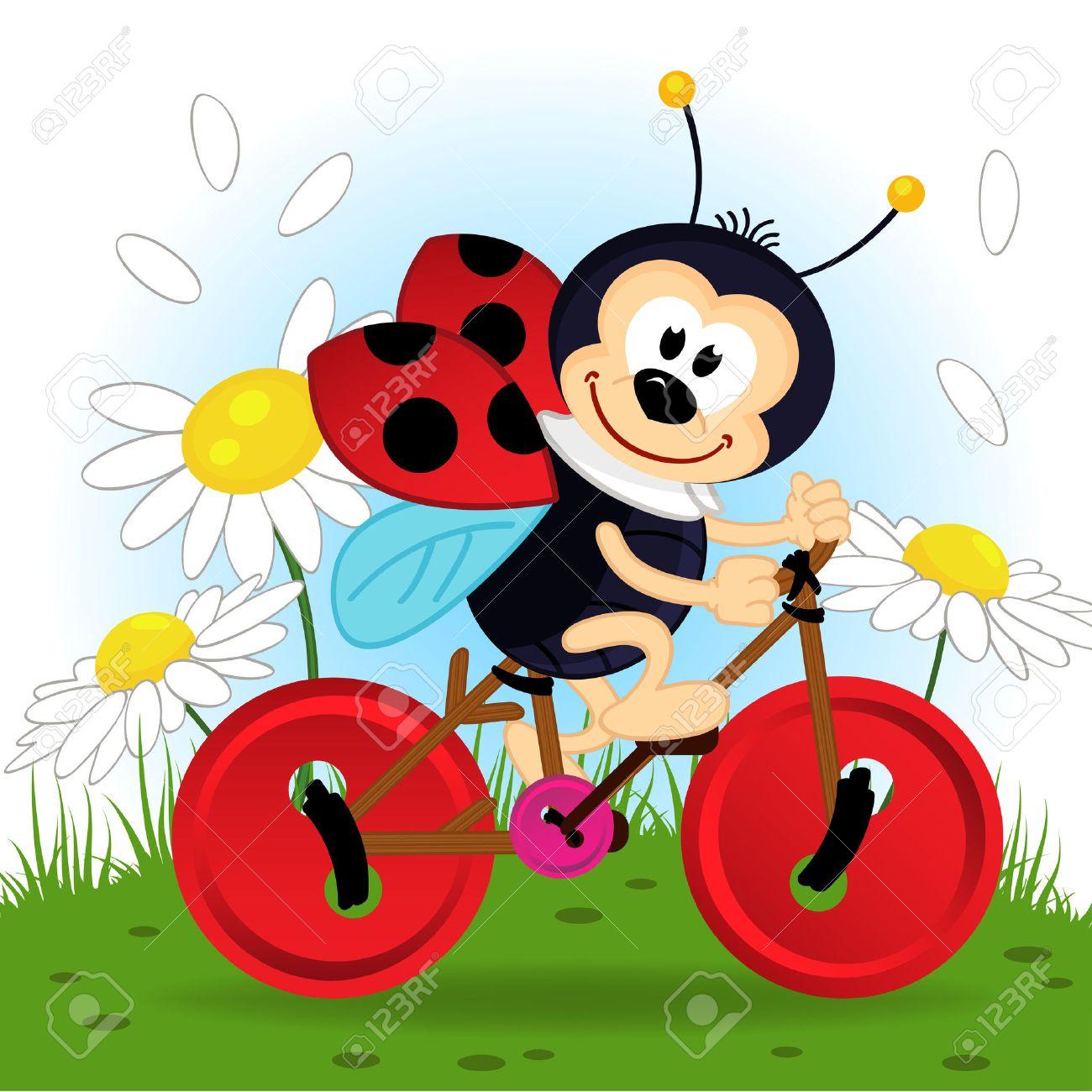 ladybug on bike Standard-Bild - 30161493