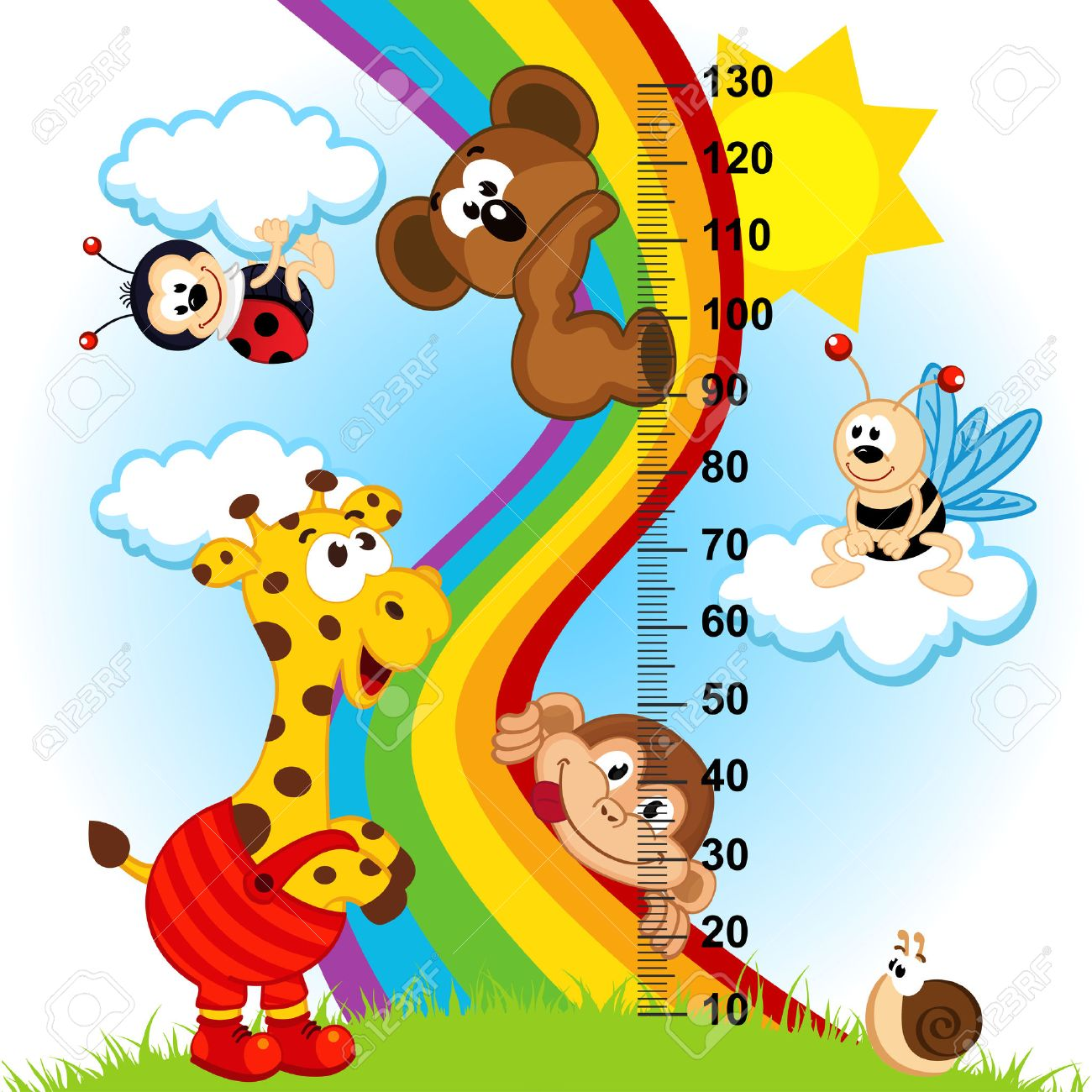 baby height measure  in original proportions 1 to 4  - vector illustration, eps Standard-Bild - 30558702