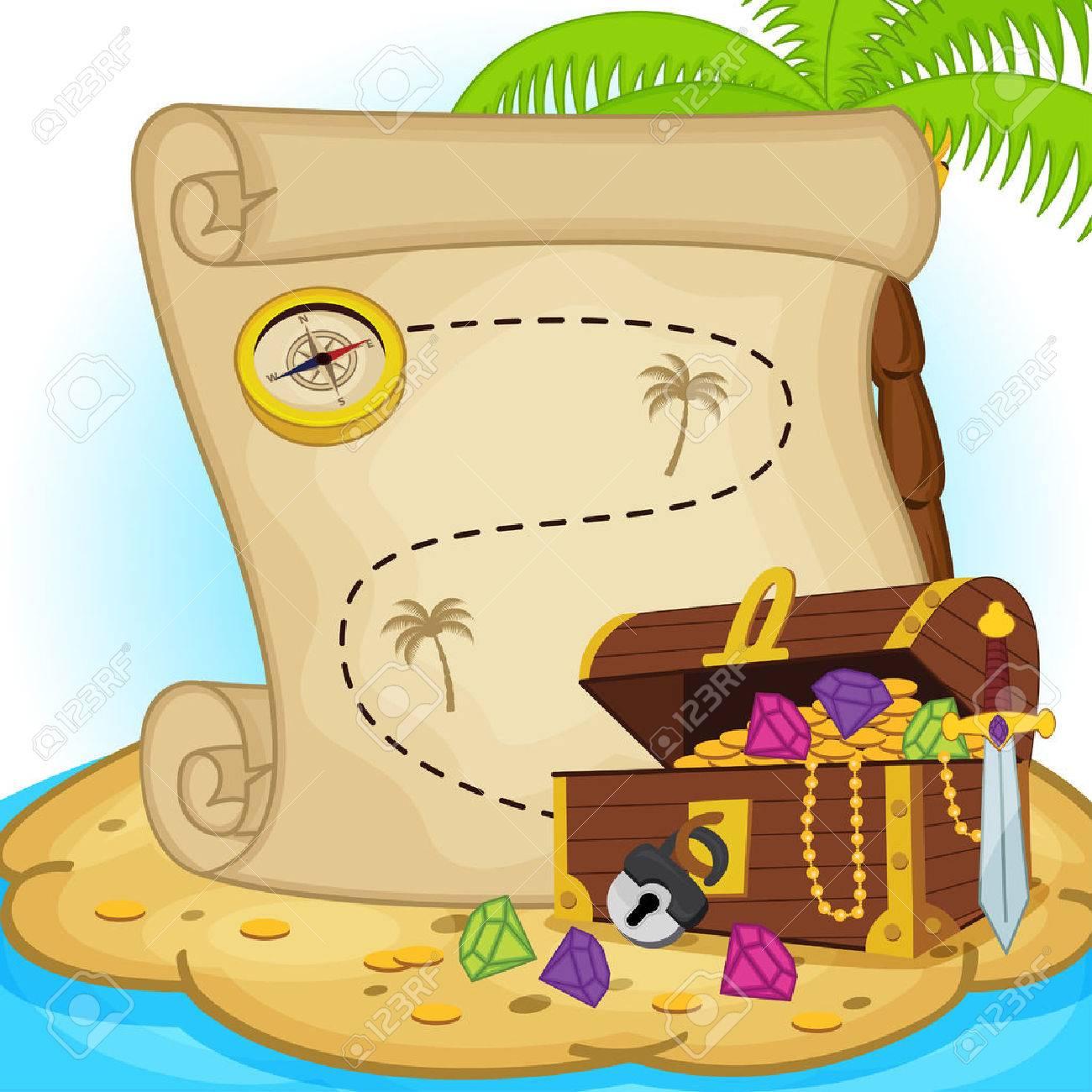 treasure map and treasure chest on island - vector illustration, eps Standard-Bild - 35796462