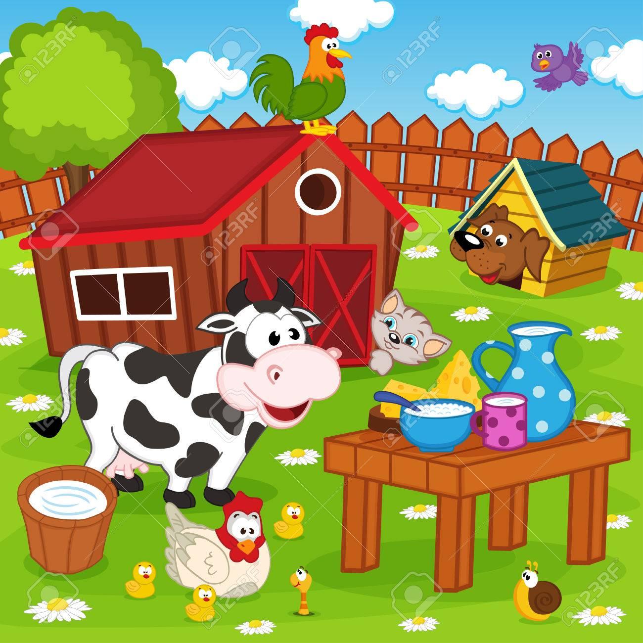 farm animals in barnyard - vector illustration, eps Standard-Bild - 36750816