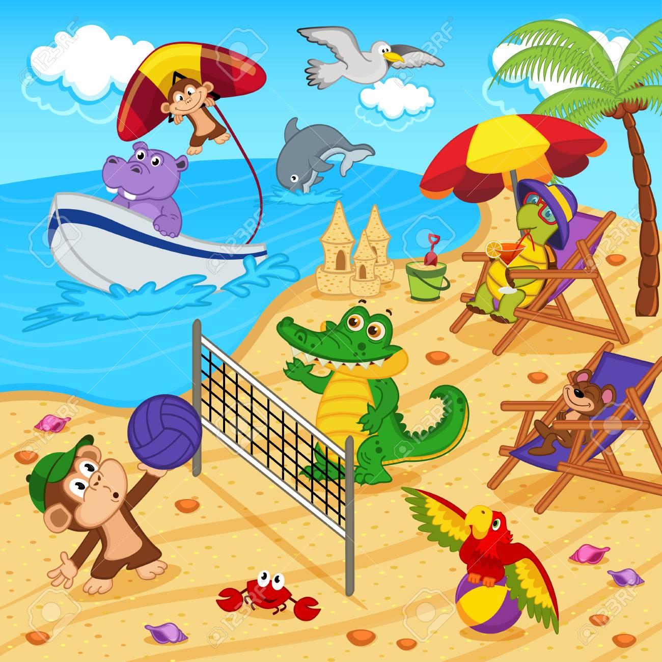 animals resting on beach - vector illustration, eps Standard-Bild - 39172915