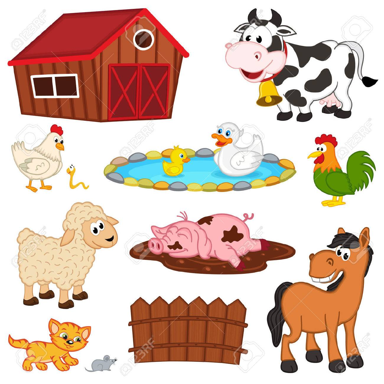 Set Of Isolated Farm Animals - Vector Illustration, Royalty Free Cliparts, Vectors, And Stock Illustration. Image 40382872.