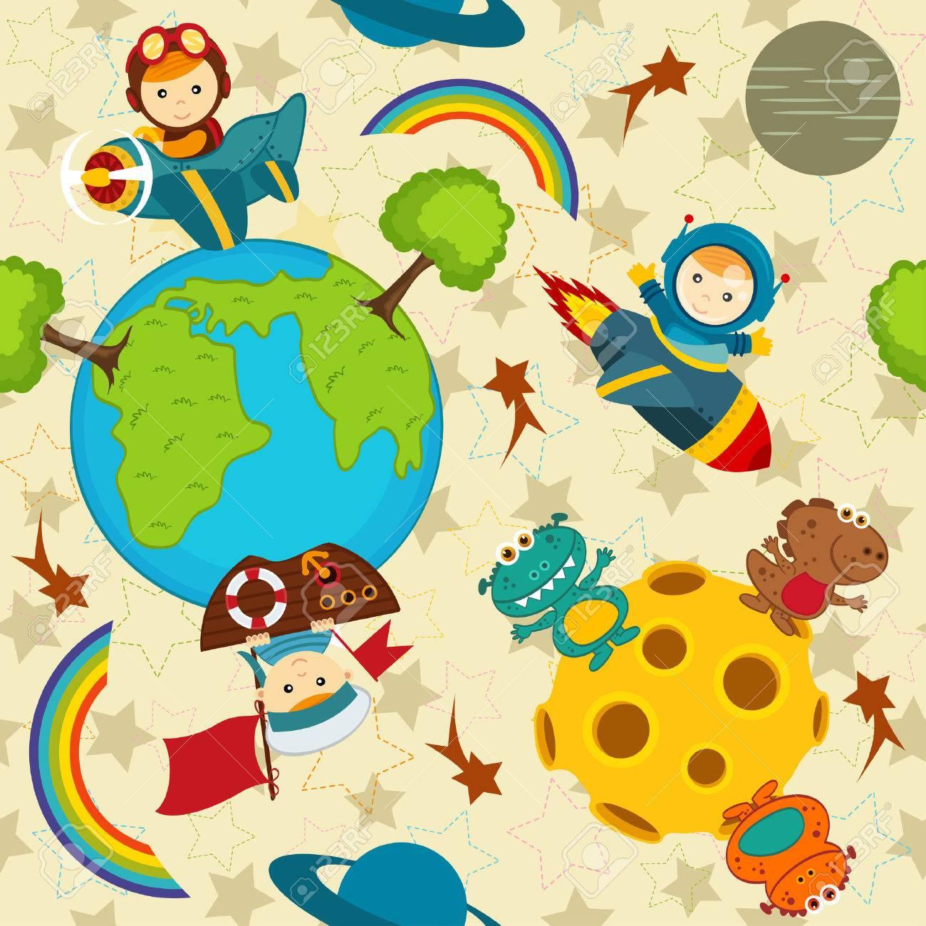 seamless pattern baby boy in space vector illustration eps Standard-Bild - 41819983