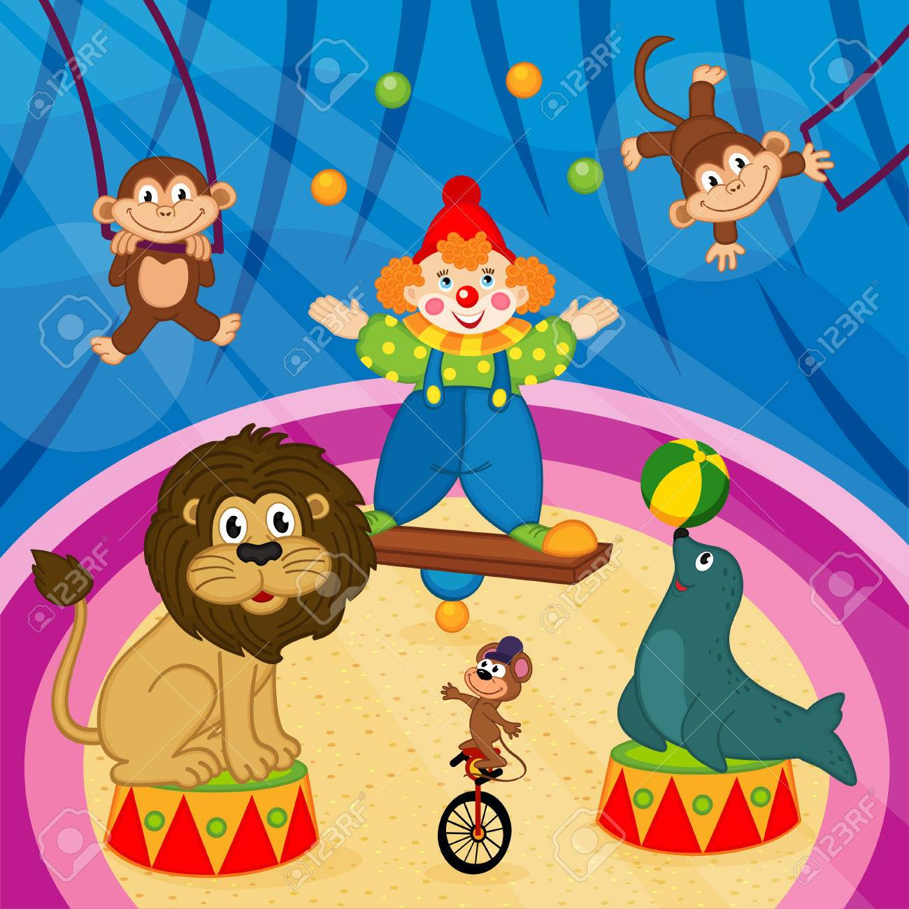 arena in circus with animals and clown - vector illustration - 51039403