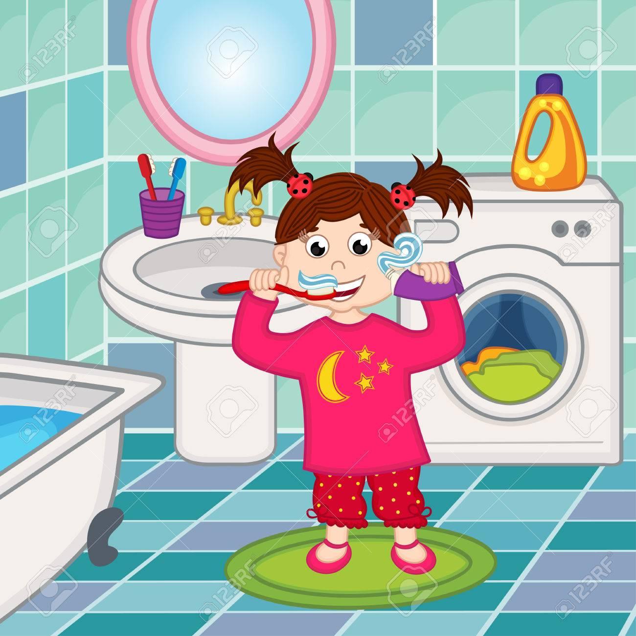 Mädchen Zähne Im Badezimmer Putzen Lizenzfreie Bilder   52231822