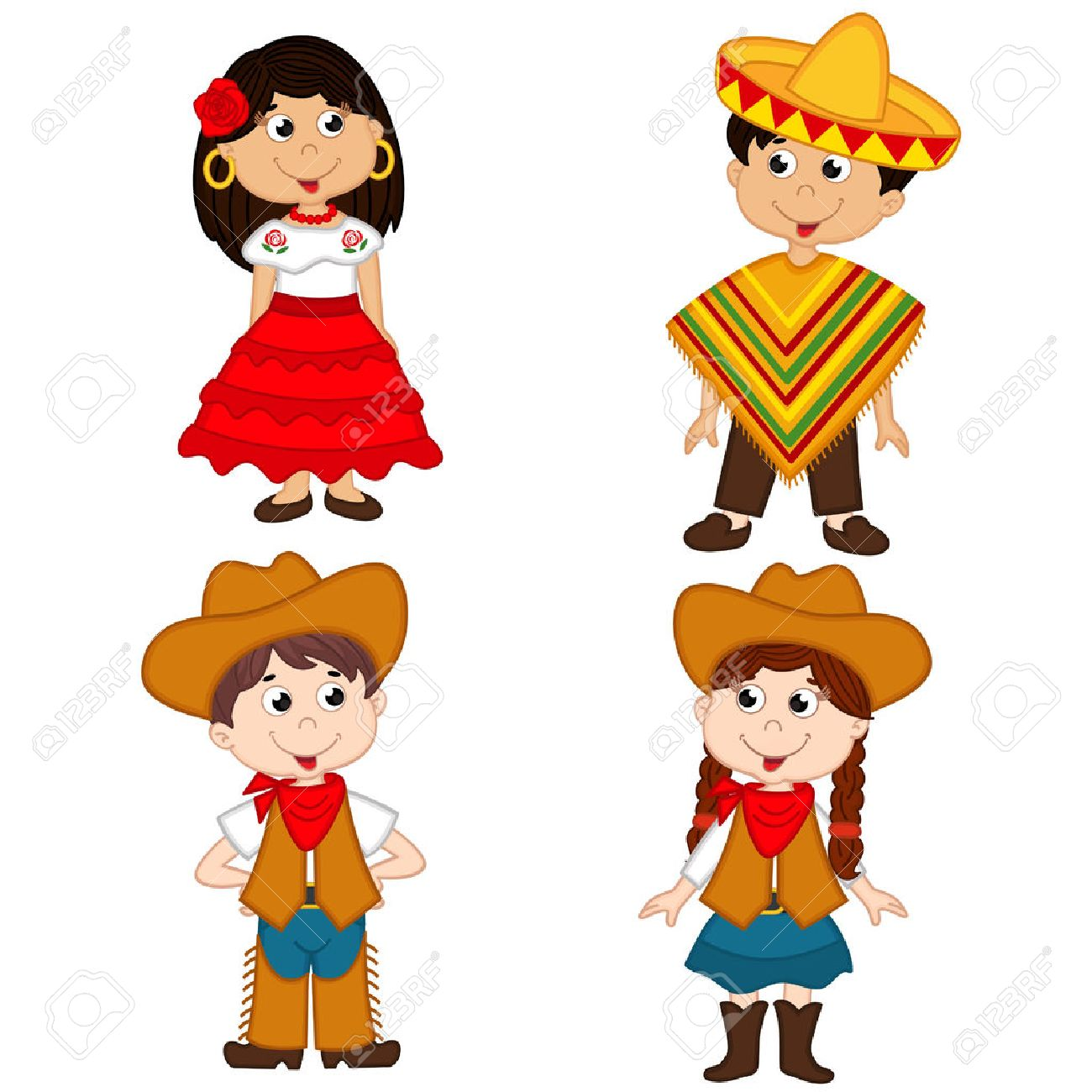 set of isolated children of Mexican and cowboy nationalities Standard-Bild - 52235468