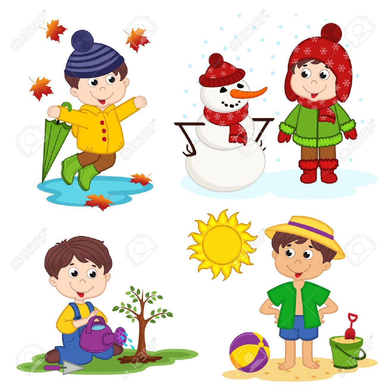 Junge und die vier Jahreszeiten Standard-Bild - 53980101