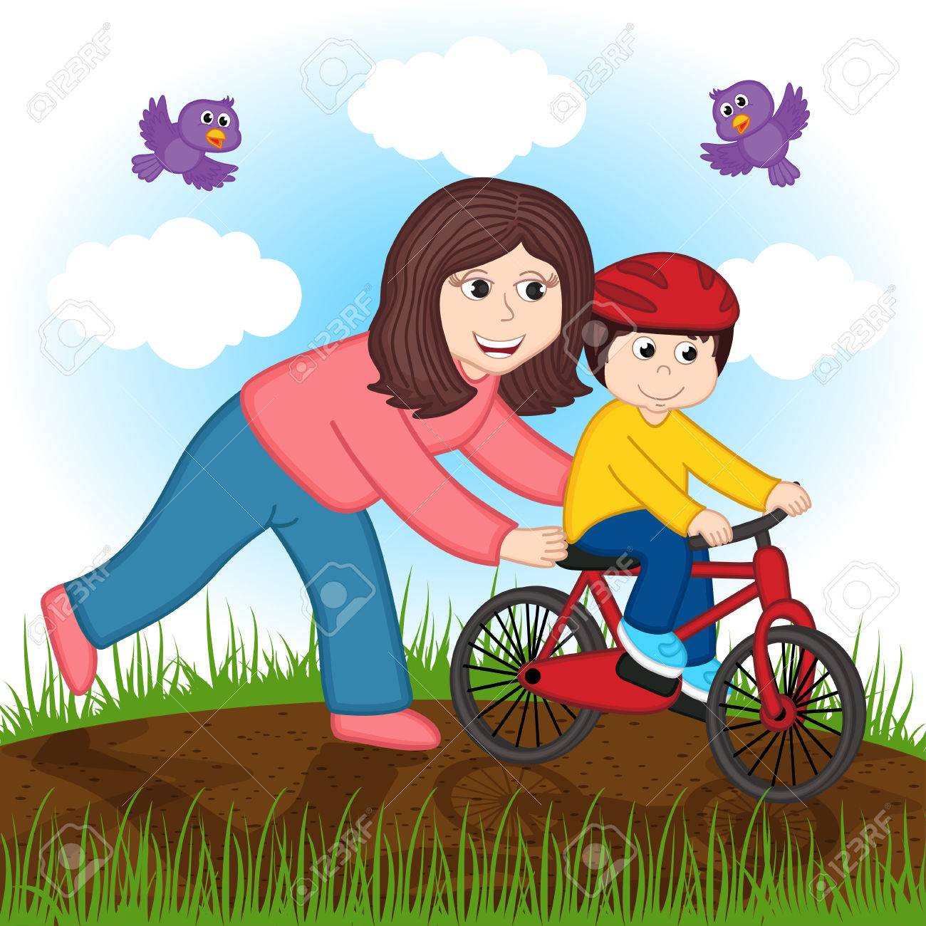 mother teaches a child to ride a bike - 61619392