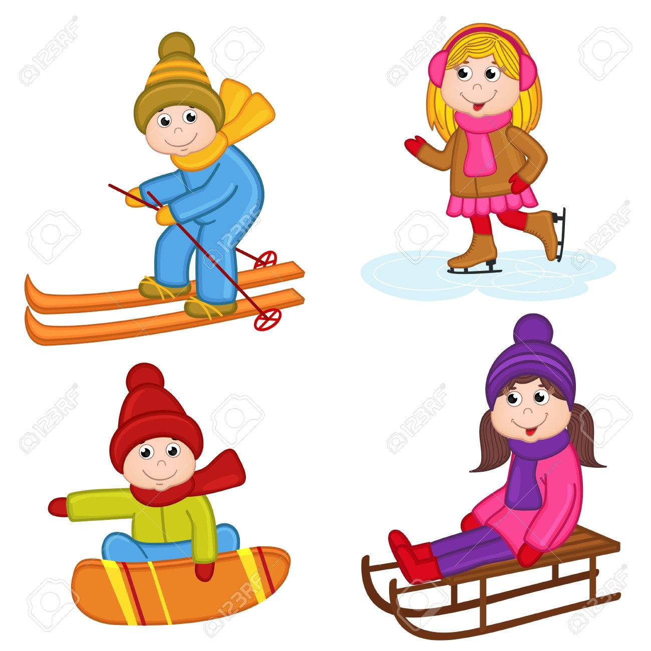 set of isolated children winter sports vector illustration royalty rh 123rf com winter olympic sports clipart