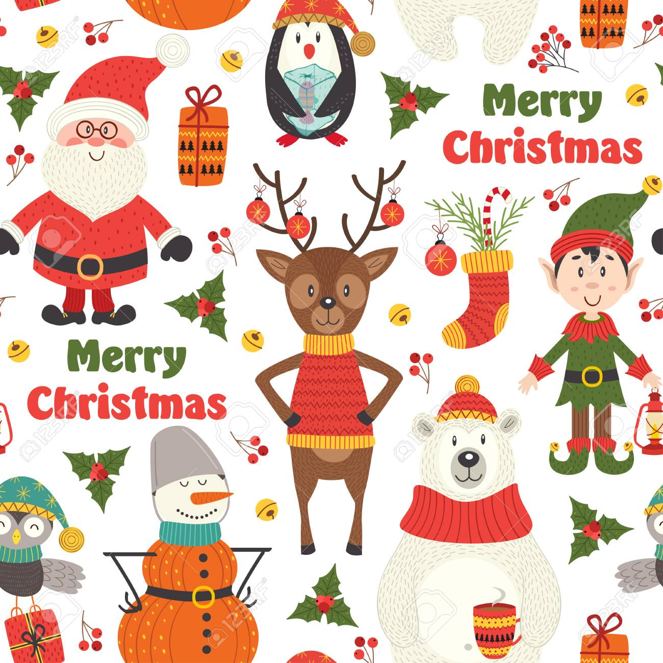seamless pattern with Christmas characters on white background - vector illustration, eps - 89812416