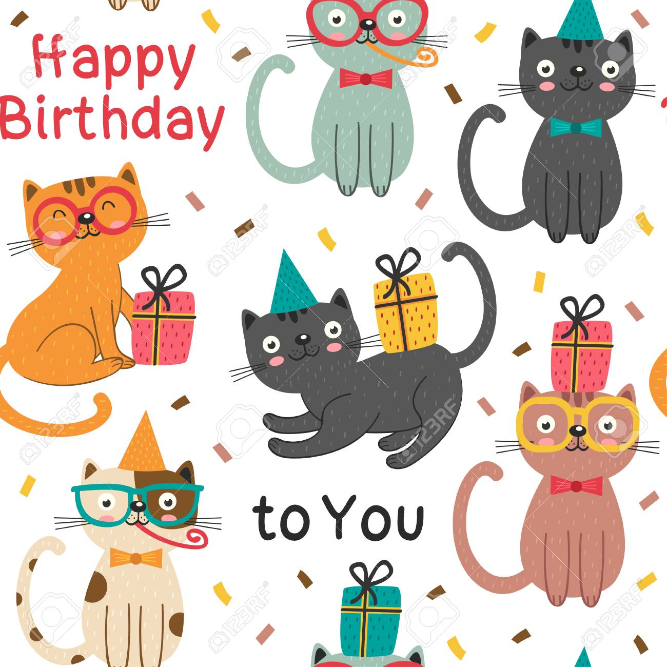 A Seamless Pattern With Happy Birthday Cats