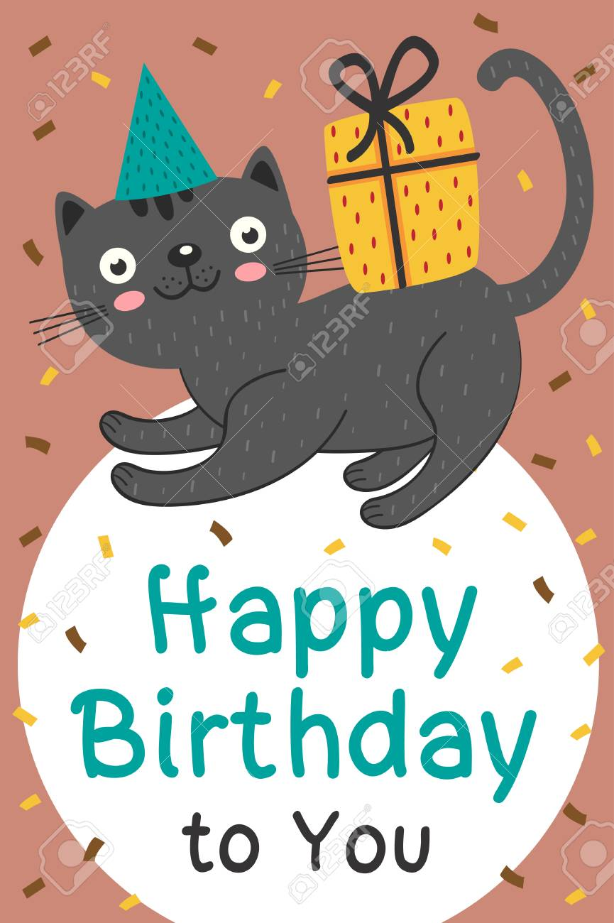 Happy Birthday Card With Black Cat And Gift