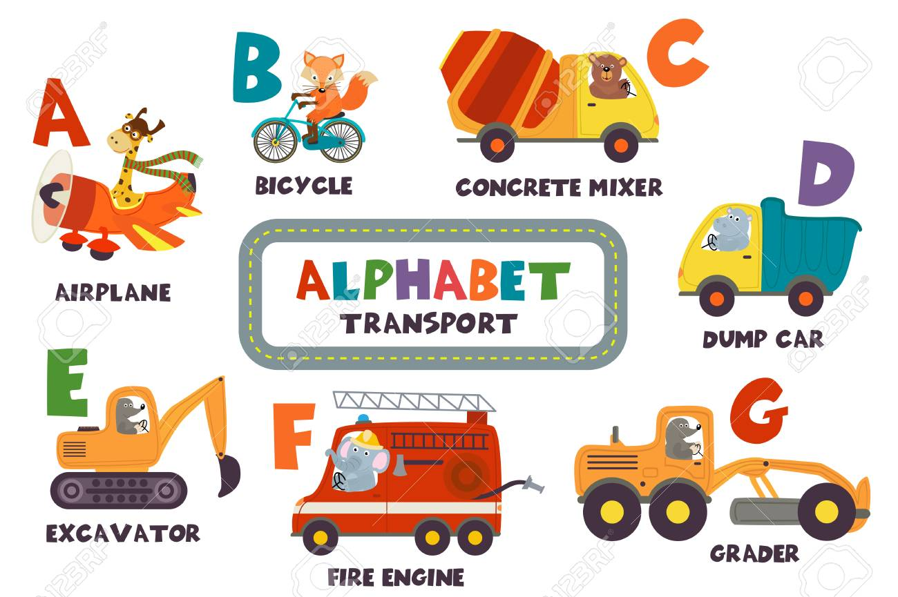 alphabet with transport and animals A to G - vector illustration, eps - 98028494