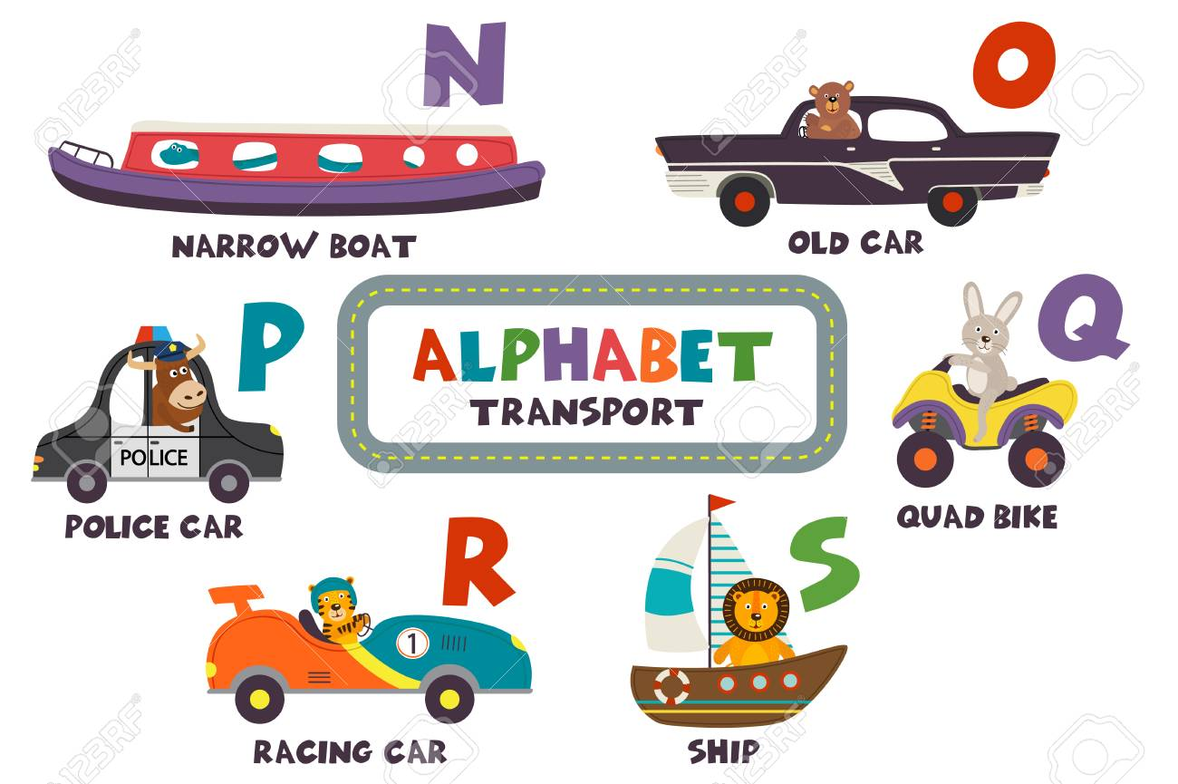 alphabet with transport and animals H to M - vector illustration, eps - 98028499