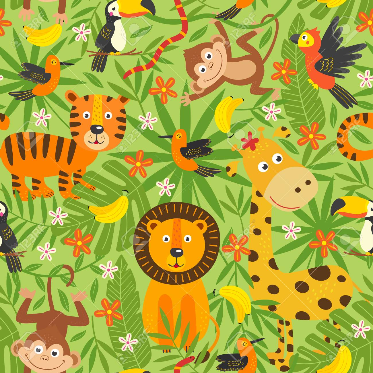 seamless pattern with jungle animals - vector illustration, eps - 104459655