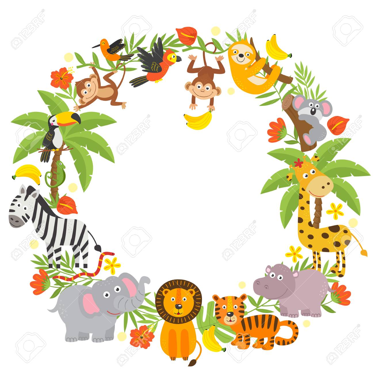 frame with jungle animals - 104927229