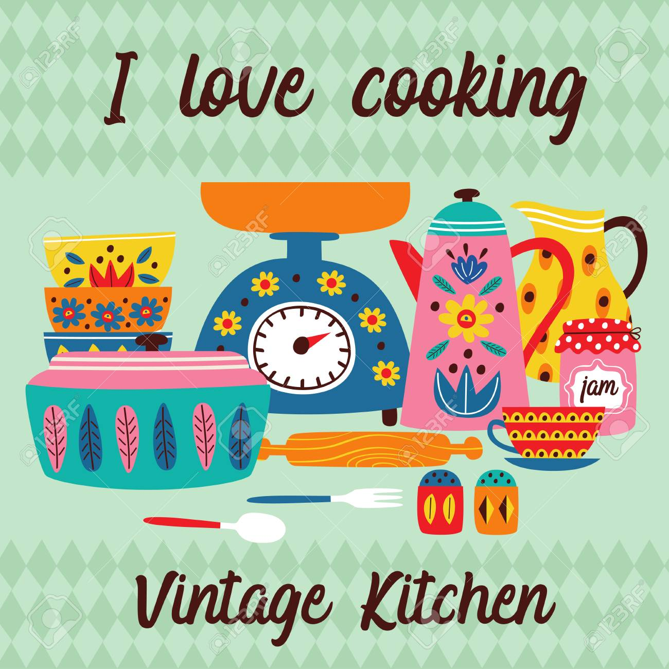 Poster With Vintage Kitchen Illustration Royalty Free Cliparts