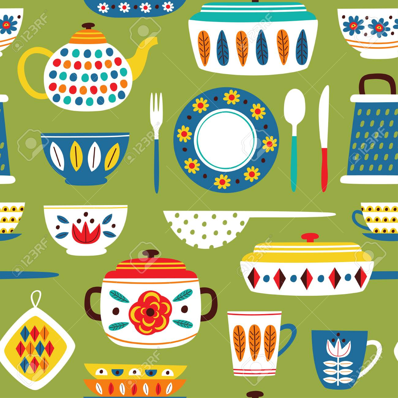 green seamless pattern with vintage kitchen illustration - 116676231