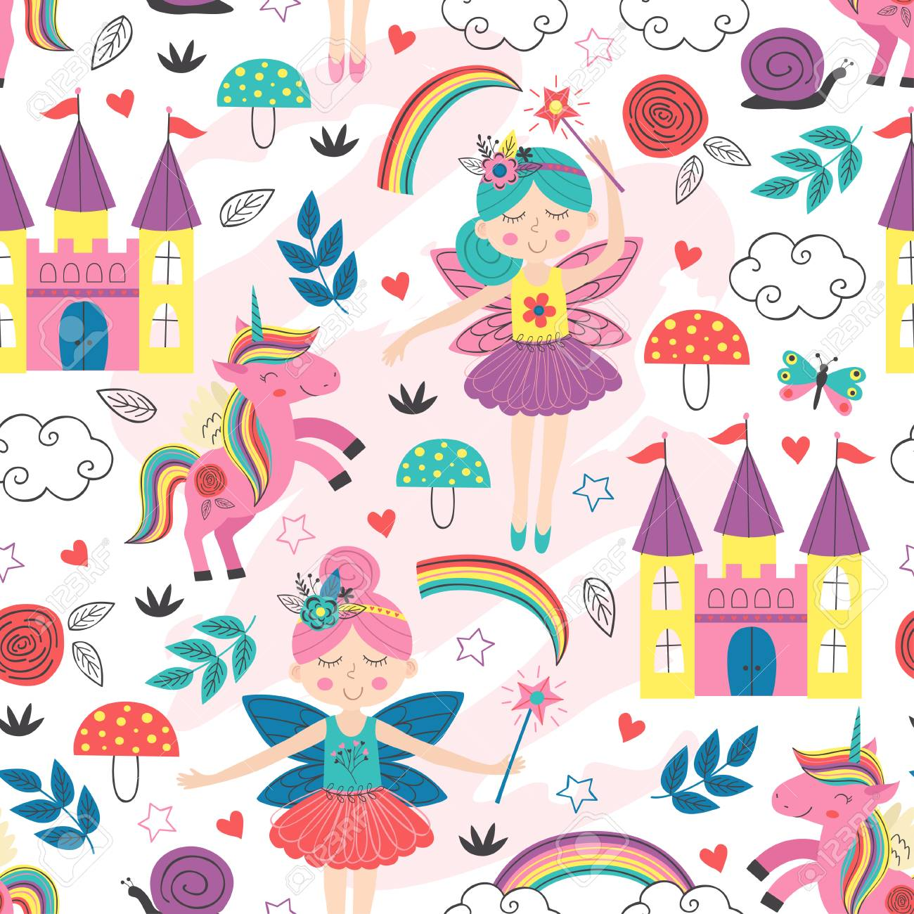 seamless pattern with fairy characters - vector illustration - 121258482