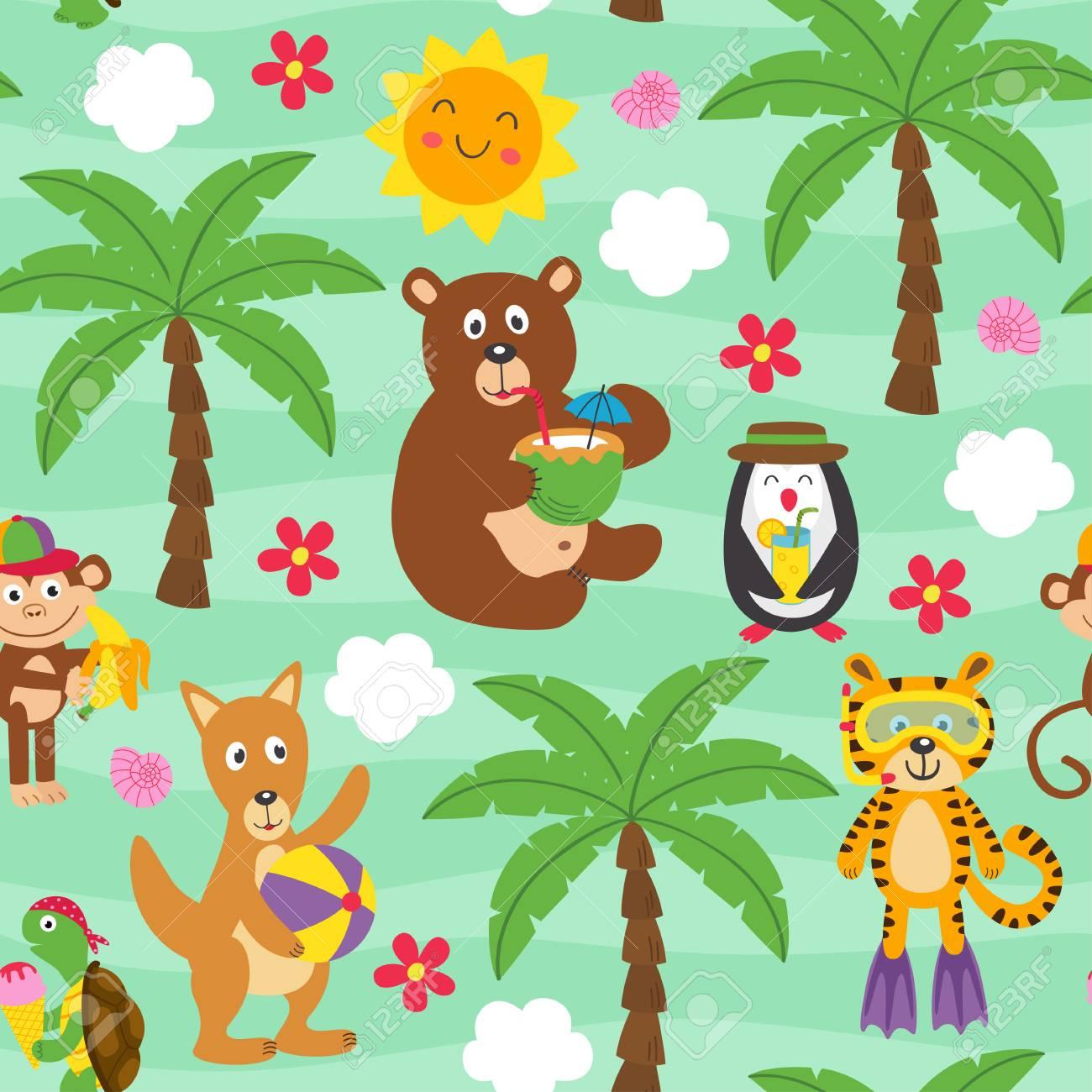 seamless animal pattern - vector illustration - 123539385