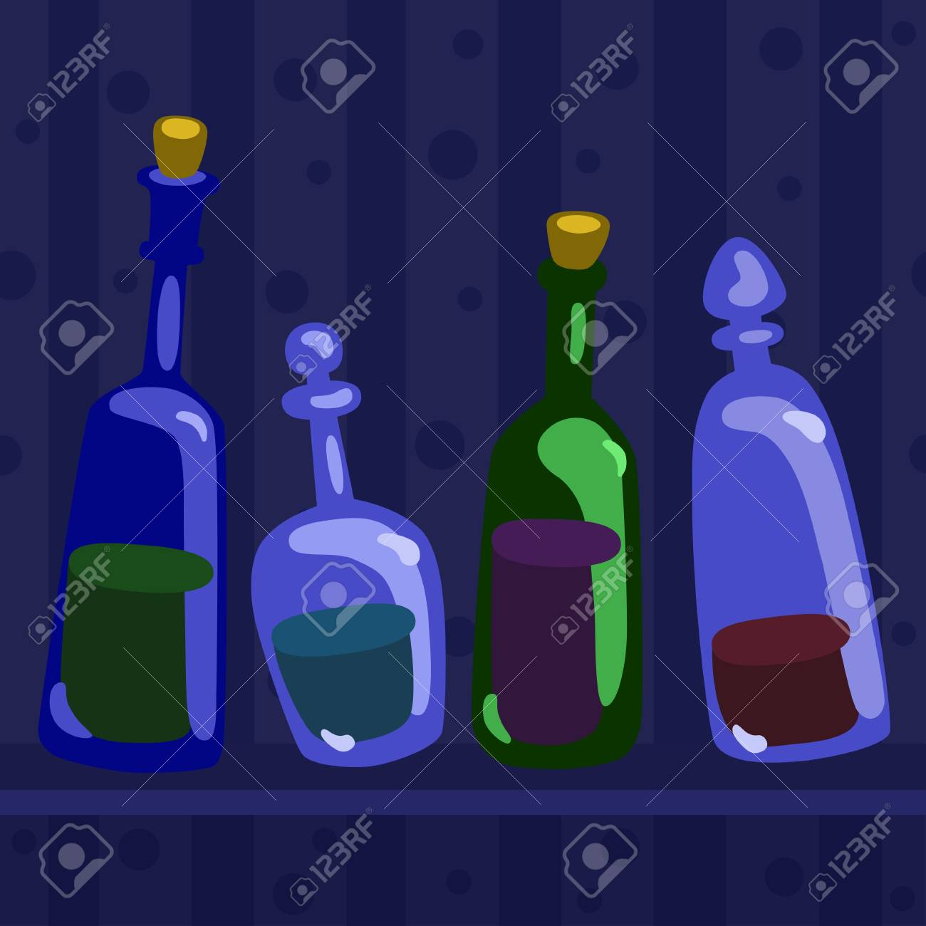 Still life with bottles - vector background illustration Stock Vector - 18119926