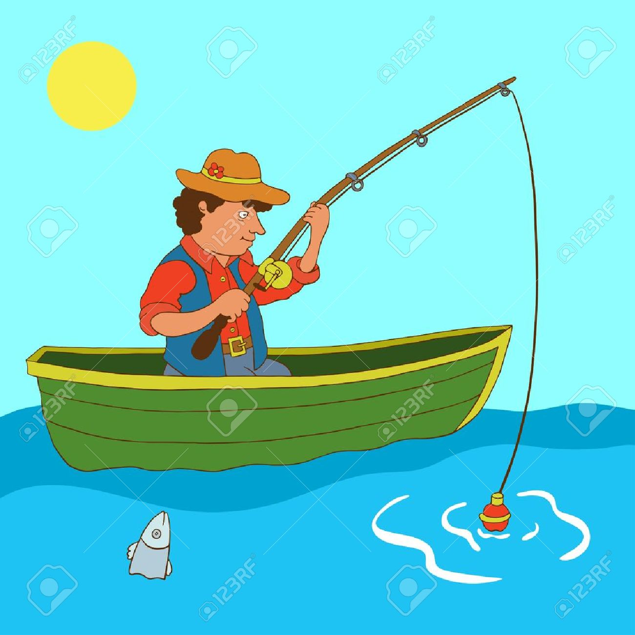 рыбак у озера с лодкой рисунки