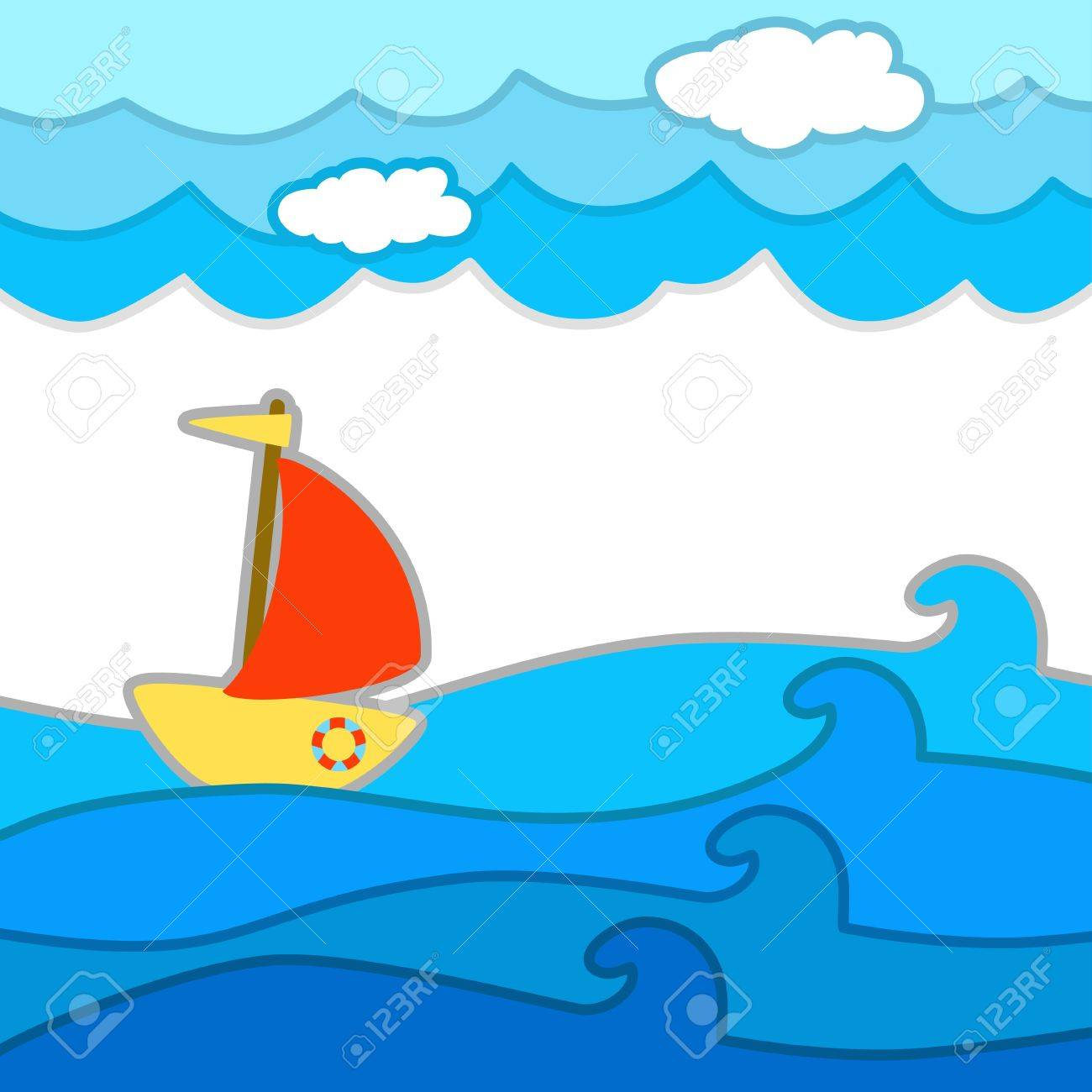 Decorative seascape with a ship - vector background Stock Vector - 18119921