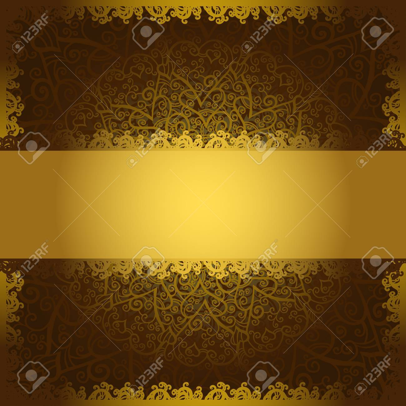 Vintage brown flowers ornament background with text field-vector Stock Vector - 18120082