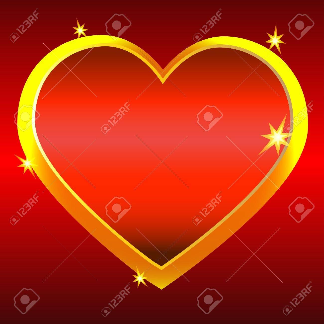 Golden heart on red background-vector Stock Vector - 18120037