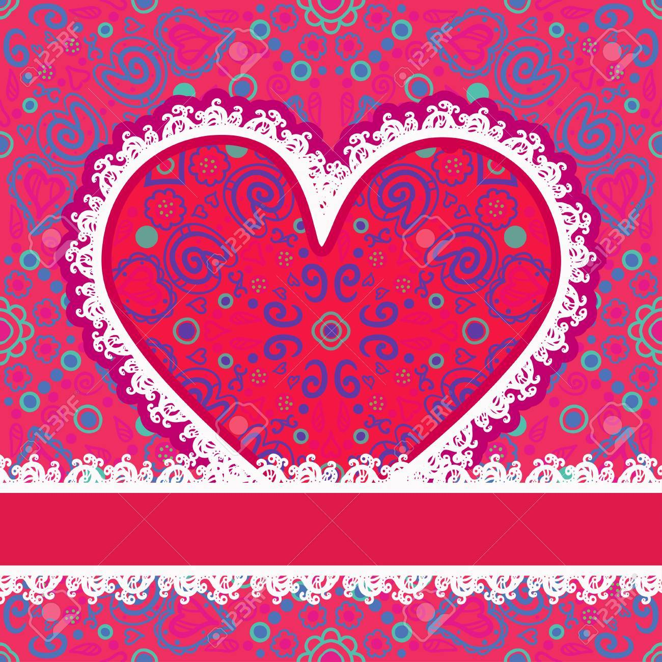 Vector lacy Valentines day heart with text field-vector Stock Vector - 18563708